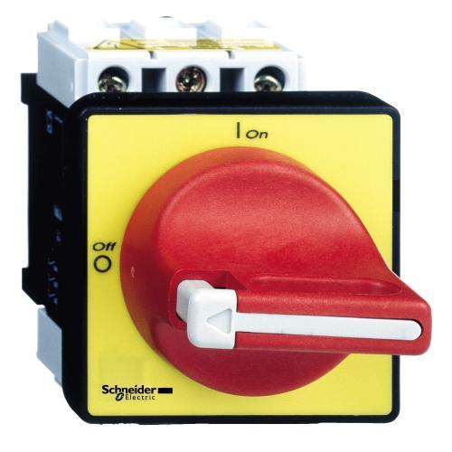 SCHNEIDER ELECTRIC - Пакетен превключвател TeSys Vario 0-1 3P 25A IP65 червена ръкохватка Ø22,5mm VCD0