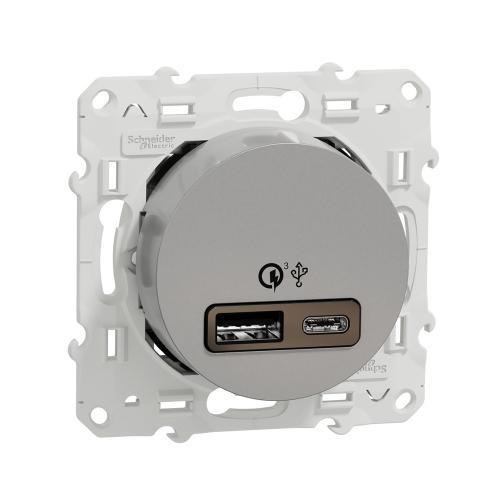 SCHNEIDER ELECTRIC - S530219 USB двойно A+C зарядно устройство Odace алуминий