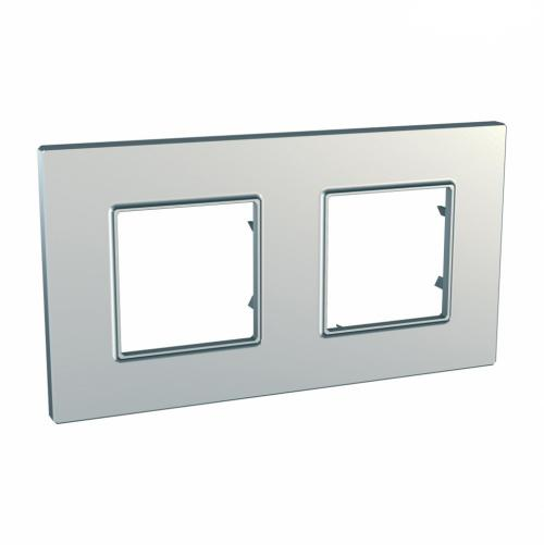 SCHNEIDER ELECTRIC - MGU6.704.55 декоративна рамка двойна сребро Unica Quadro