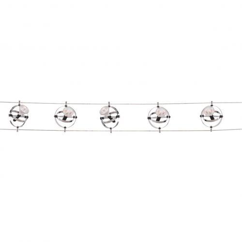SEARCHLIGHT -   5601-05-LED Track 5 Light Led Cable Kit, Adjustable Gyroscope Heads, Chrome Finish