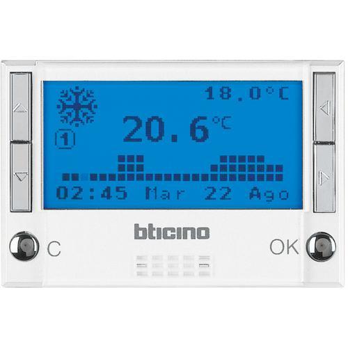 BTICINO - HD4451 Термостат с LCD дисплей 3 мод. с таймер за отопление и охлаждане Axolute бяло
