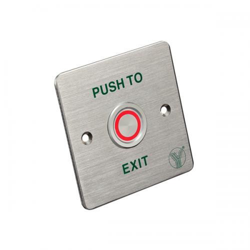 YLI Electronic - Бутон пиезоелектрически с надпис EXIT и светещ LED ринг червен/зелен. За външен и вътрешен монтаж IP65 PBS-820C(LED)
