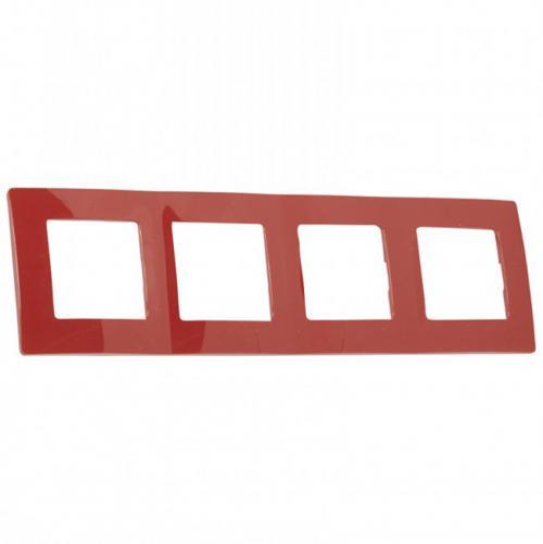 LEGRAND - Четворна рамка NILOE 665024 червен
