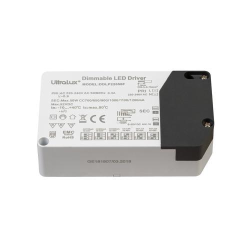 ULTRALUX - DDLP22050F Димиращ драйвер 0-10V DC, PWM, потенциометър 100К за LED осветление 700-1200mA 220V-240V AC 50W