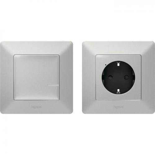 LEGRAND - Комплект свързан контакт управляван от безжичен ключ Netatmo 752354 Valena Life Алуминий