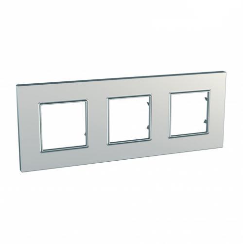 SCHNEIDER ELECTRIC - MGU6.706.55 декоративна рамка тройна сребро Unica Quadro