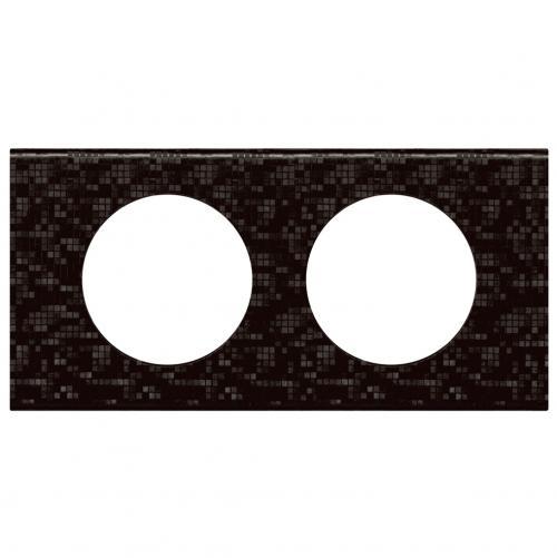 LEGRAND - Двойна рамка Celiane 69452 черна мозайка кожа