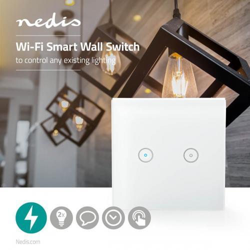 NEDIS - Wi-Fi Smart двоен ключ за контрол на осветление WIFIWS20WT, NEDIS