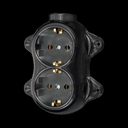 ATRA - Двоен контакт шуко 16А открит монтаж IP21 черен 5220