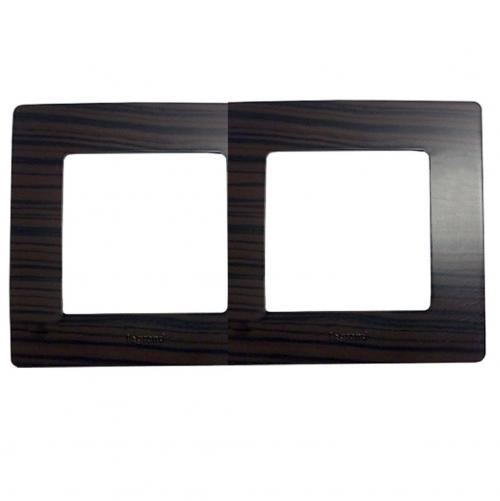 LEGRAND - 3 970 92 Plate Niloé - 2 gang - dark wood