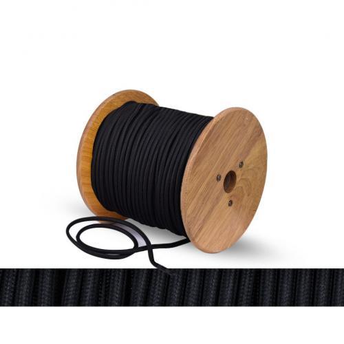 БЪЛГАРСКИ КАБЕЛ - Текстилен кабел кръгъл черен  2x0.75