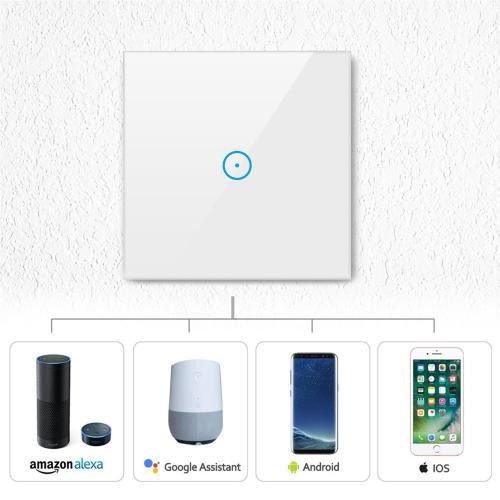 V-TAC - WIFI SMART Touch Ключ Единичен Бял Съвместим с Amazon Alexa & Google Home SKU: 8417 VT-5003