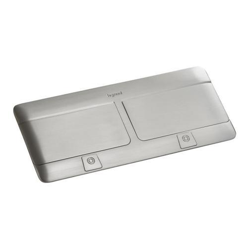 LEGRAND - 654003 Подова кутия 2x4 модула драскан инокс (Matt steel finish) с включен монтажен кит