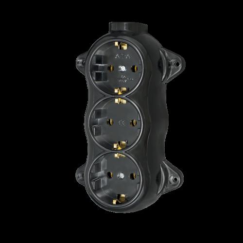 ATRA - Троен контакт шуко 16А открит монтаж IP21 черен 5221