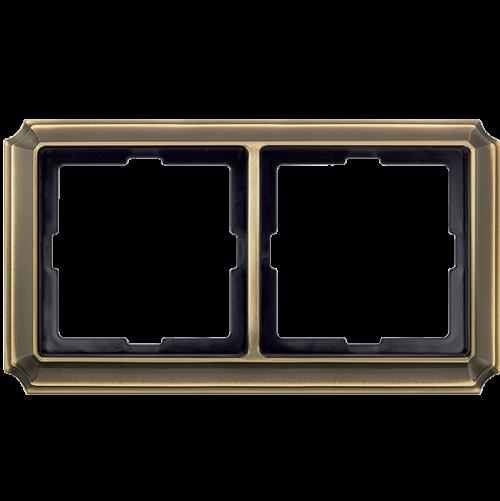 SCHNEIDER ELECTRIC - MTN483243 рамка двойна месинг Antique Merten
