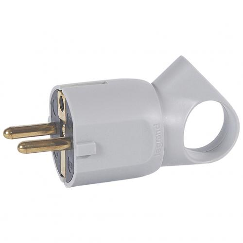 LEGRAND - 0 503 24 2P+E plug - 16 A with ring - German standard - plastic - grey - bulk