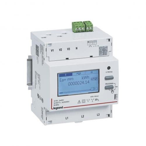 LEGRAND - Трифазен електромер ИНДИРЕКТНО мерене на ел.енергия EMDX3, импулсен изход, еднотарифен, DIN монтаж 4 мод, MID Legrand 412042