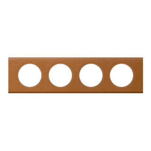 LEGRAND - Четворна рамка Celiane 69424 кожа карамел