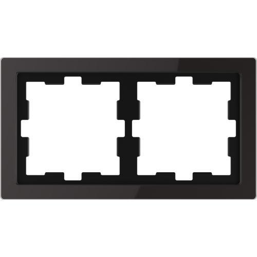 SCHNEIDER ELECTRIC - MTN4020-6503 рамка двойна стъклена черен оникс D-Life glass Merten
