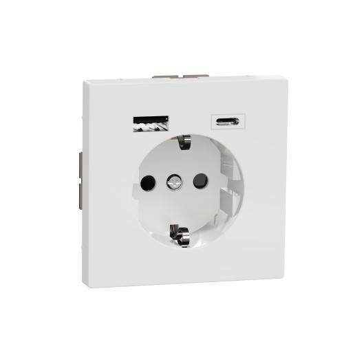SCHNEIDER ELECTRIC - MTN2367-6035  Механизъм контакт шуко 16A + USB A+C 3A 15W лотус System Design