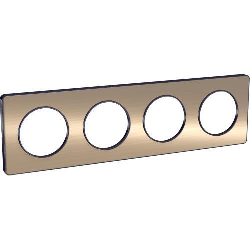 SCHNEIDER ELECTRIC - S540808L Odace Touch aluminium декоративна рамка четворна бронз с външен кант в цвят антрацит