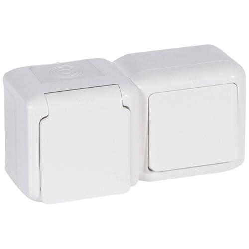 LEGRAND - 782371 Блок еднополюсен ключ с контакт шуко открит монтаж IP44 бял