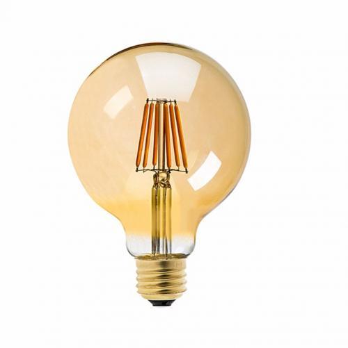 V-TAC -  LED Крушка 6W Filament E27 G95 Amber Топло Бяла Светлина Димируема SKU 7156 VT-2026D