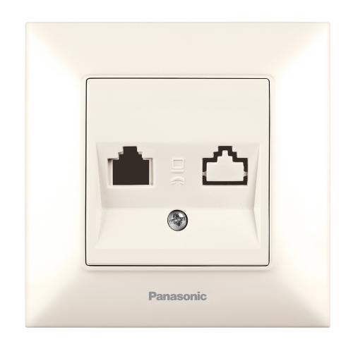 PANASONIC - Телефонна розетка Panasonic Arkedia Slim крем WNTC0402-2BG