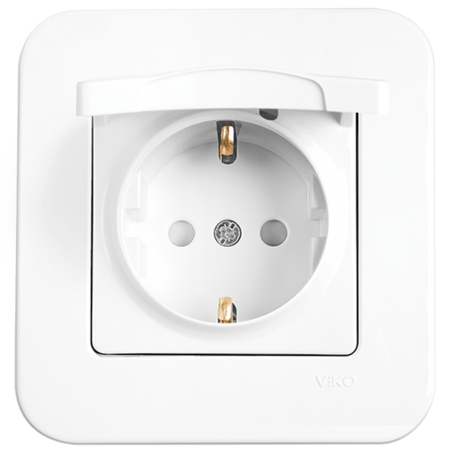 VIKO - Socket 2P+E with Lid 90420012 white Rollina