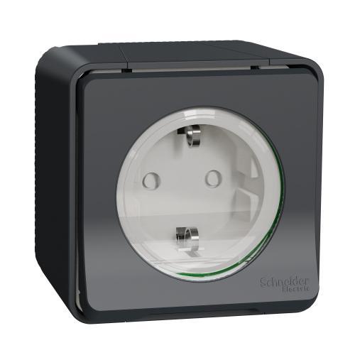 SCHNEIDER ELECTRIC - Контакт шуко 16A единичен с детска защита моноблок влагозащитен IP55 автоматични клемит MUR36034 Mureva Styl Антрацит