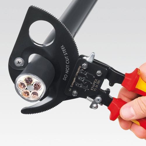 KNIPEX - Ножица за срязване на кабел VDE 1000V до ф52мм и 380мм2 280мм ръкохватка 9536280