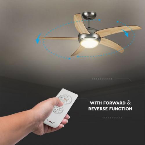 V-TAC - Вентилатор за Таван с Дистанционно 5 Перки с осветление SKU: 7916 VT-6053-5