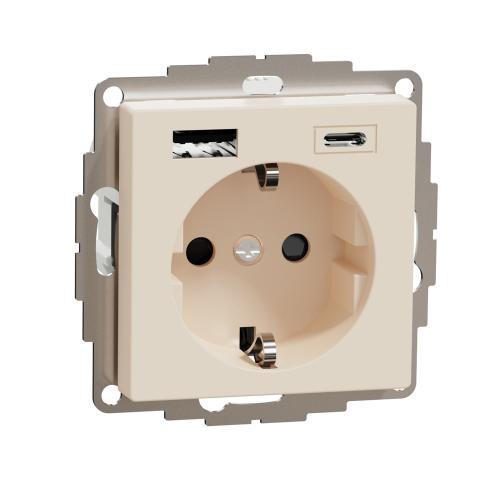 SCHNEIDER ELECTRIC - MTN2367-0344 КОНТАКТ С USB А+С крема System M