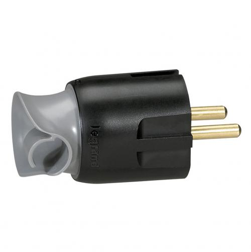 LEGRAND - 0 501 73 2P+E plug - 16 A - Fr/German standard - cable orientation - black/grey - gencod label
