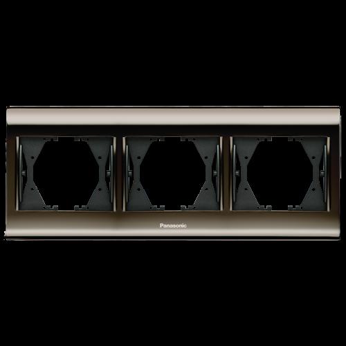 PANASONIC - Тройна рамка Черен хром WBTF0803-5UN