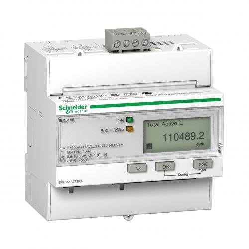 SCHNEIDER ELECTRIC - Трифазен електромер за ДИРЕКТНО мерене на ел. енергия Acti 9 iEM, BACnet, до 4 тарифи, за DIN монтаж 5 мод, 63A, MID SE A9MEM316