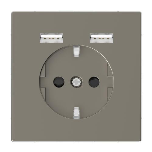 SCHNEIDER ELECTRIC - MTN2366-6050 Механизъм контакт шуко 16А + 2хUSB charger 2400mA с лицев панел метален никел System Design