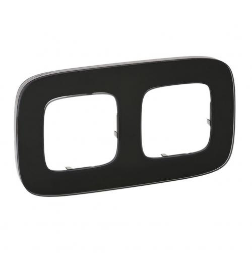 LEGRAND - Двойна рамка ALLURE 755532 черно стъкло