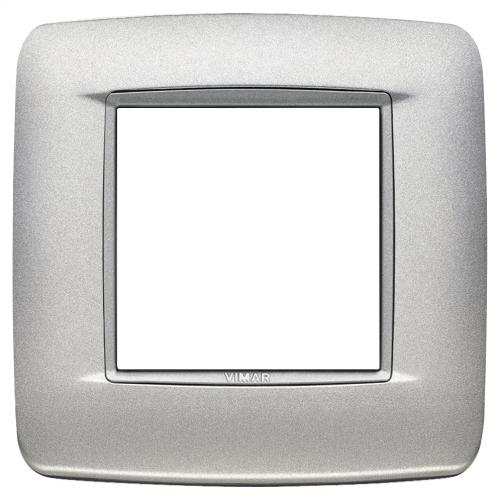 VIMAR - 20672.N13 - Двумодулна рамка Round Bright matt silver