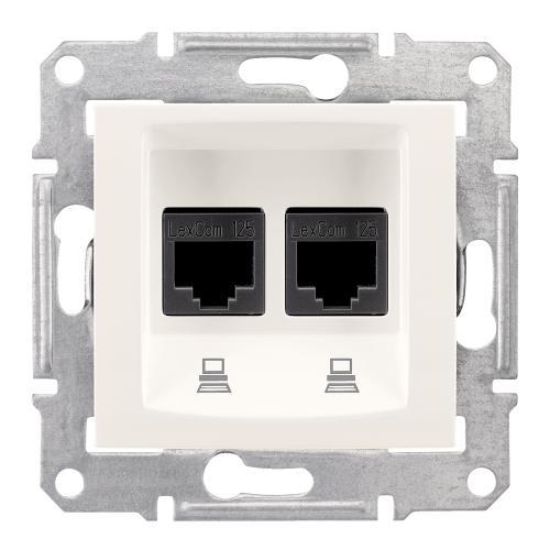 SCHNEIDER ELECTRIC - SDN4800123 Информационна розетка 2xRJ45 кат.6 UTP Sedna, 16А, крем