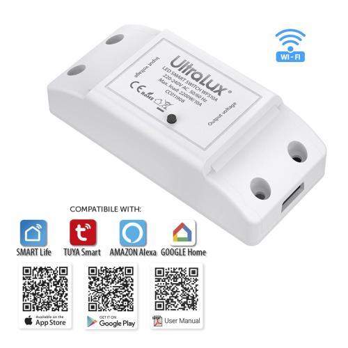 ULTRALUX - WFS10A Wi-Fi Smart прекъсвач, 10А, 2200W, 220-240V AC