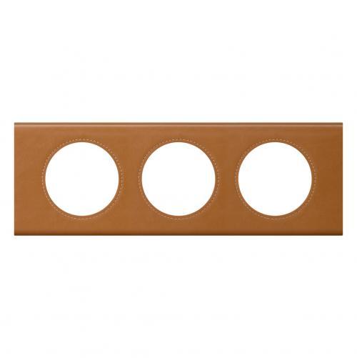 LEGRAND - Тройна рамка Celiane 69423 кожа карамел