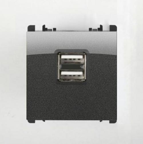 SIMON URMET - 10330/2.AC двойно USB захранване dark iron
