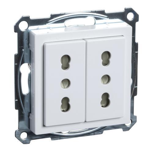SCHNEIDER ELECTRIC - MTN2162-0325 Механизъм 2х контакт италиански с лицев панел активно бяло System M /антибактериален/