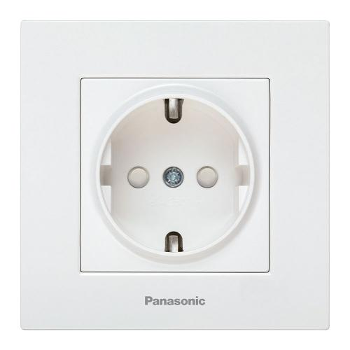 PANASONIC - Контакт шуко с детска защита Panasonic Kare бял WKTC0212-2WH