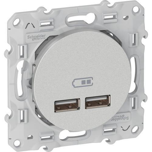 SCHNEIDER ELECTRIC - S530407 USB двойно зарядно устройство Odace алуминий