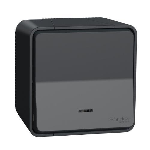 SCHNEIDER ELECTRIC - Влагозащитен Лихт бутон с индикатор за открит монтаж MUR35028 Mureva Styl антрацит