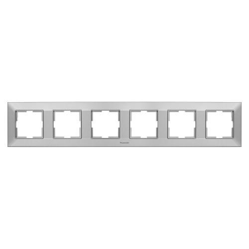 PANASONIC - Рамка шесторна хоризонтална сиво PANASONIC Arkedia slim WNTF0806-2SL