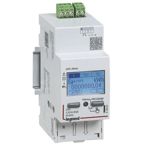 ABB - Монофазен електромер ДИРЕКТНО мерене на енергия EMDX3, импулсен изход, еднотарифен, DIN монтаж 2 мод 63A, MID Legrand 412082