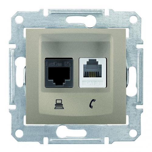 SCHNEIDER ELECTRIC - SDN5100168 Розетка телефонна и информационна RJ11+RJ45 кат.5е UTP Sedna, 16А, титаний